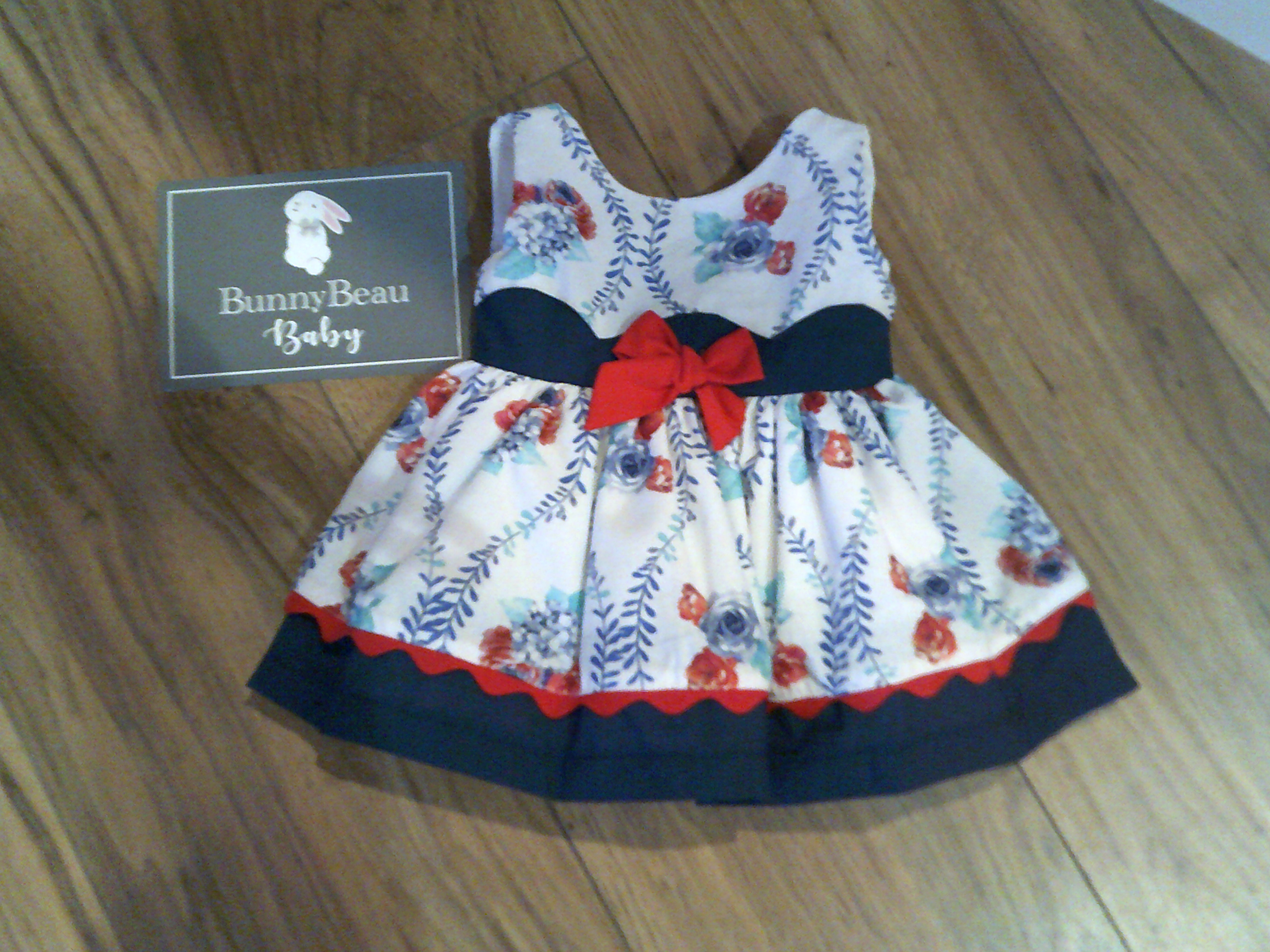 ALBER ROSES & VINES DRESS WITH NAVY TRIM Bunny Beau Baby Boutique